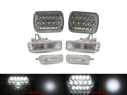 Full Led Hi+low 7x6 Headlights+clear Bumper+markers For 89-90 Nissan 240sx S13