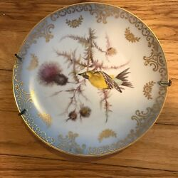 Mitterteich Bavaria Collectible Bird Plate From Germany 2 Finch W/plate Hanger