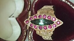 Antique Edwardian 14k Gold Ringgenuine Rubies And Green Tourmaline 1860and039s