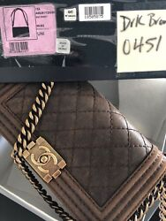 CHANEL Old Medium LE BOY natural leather Quilted Flap Bag excellent !!!!