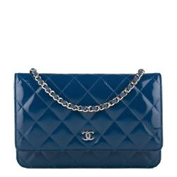 Chanel Dark Blue Quilted Patent Classic Wallet On Chain (WOC)