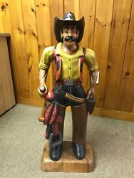 Hand-carved Wooden Cowboy Statue With Saddle