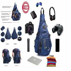 Large Sling Bag Crossbody Backpack 14.1-Inch Chest Daypack Outdoor Hiking Travel