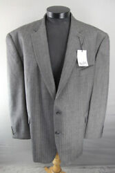 Bnwt Centaur Big And Tall Wool Rich Striped Taupe Jacket 46-56 Inch Chest Rrp Andpound139