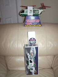 2001 Hess Helicopter- Counter Display Stand- Button - Bag - Combo- Mib