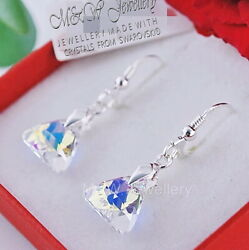 Earrings Crystals From Andreg Triangle Crystal Ab 12mm Sterling Silver 925