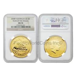 Australia 2008 Year Of Mouse 100 Dollars Gold Ngc Ms70