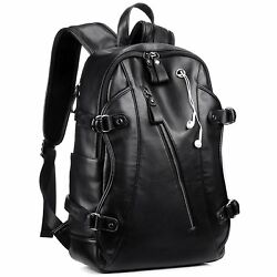 Leather Backpack for Men KISSUN 15.6 inch Business PU Soft Leather Backpack PU