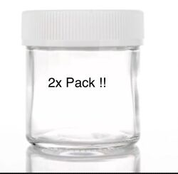 3oz 3mm Glass 2-pack Glass Jar White Child Resistant Lid Fits A 1/8th