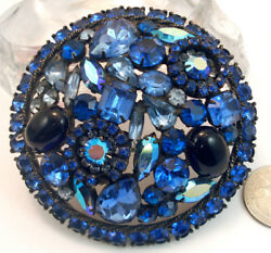 Vintage Costume Jewelry Huge Weiss Glass Rhinestone Domed Round Brooch Pin