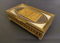 Superb Gilt Bronze Box With Champleve And Marble