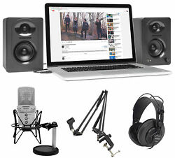 Samson G-Track Studio Podcast USB Microphone+Interface+Boom+Headphones+Monitors