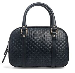 Gucci Micro Guccisima Navy Blue Small Satchel Leather Bag Crbdy Purse Italy New