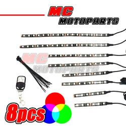 Easy Mount Waterproof RGB 15 Colors LED Lighting Strip x8 For BMW Motorcycles
