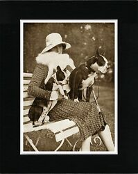 LADY AND HER BOSTON TERRIER DOGS VINTAGE STYLE DOG PHOTO PRINT READY MATTED