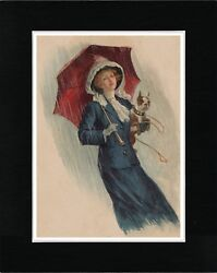 LADY AND HER BOSTON TERRIER IN THE RAIN VINTAGE STYLE DOG ART PRINT READY MATTED