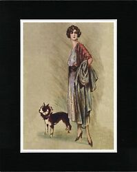 ELEGANT LADY AND BOSTON TERRIER LOVELY VINTAGE STYLE DOG ART PRINT READY MATTED