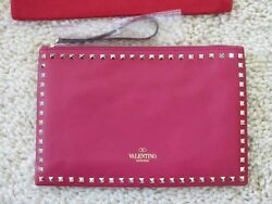 Valentino AUTH NIB Pink Leather Zip Envelope Clutch Bag Tarnished Gold Rockstud