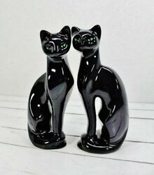 Vtg MCM Ceramic 11 Inch Black Cat Figurines Set of 2 Green Eyes Great Condition!
