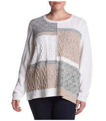 Alfred Dunner® Plus Size 2x, 3x Eskimo Kiss Colorblock Sweater Nwt 70
