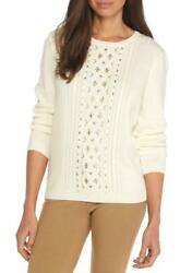 Alfred Dunner® Pxl Eskimo Kiss Ivory Beaded Center Sweater Nwt 66