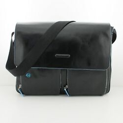 Man woman bag PIQUADRO BLUE SQUARE messenger black leather CA3337B2 N EUPG