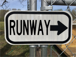 Runway Road Sign 12x6 - Dot Style - Airport Airplane Jet Pilot Highway