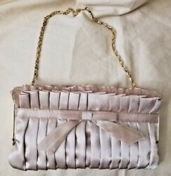 women elegant evening clutch bag in satin and gold color chain