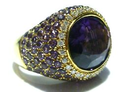 Brusidue Brusi 18k Gold Amethyst And Diamond Womens Cocktail Ring Size 6.75