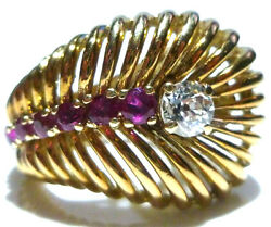 Incredible Retro 14k Yellow Gold .45ct Old Cut Diamond And Ruby Estate Ring Sz6.25