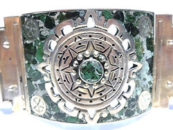 Vintage Old Estate Mexico Mexican Sterling Silver Massive Stone Inlay Bracelet