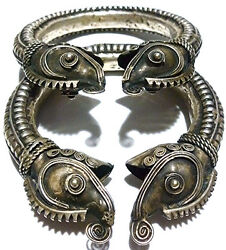 Asian Indian India Large Sterling Silver Large Fish Dragon Cuff Bracelet Set