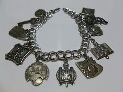 Abwa American Business Women's Association Packed Sterling Silver Charm Bracelet