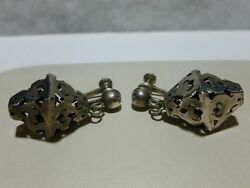 Antique Mexico Mexican Modern Sterling Silver Designer Collector Earrings