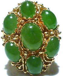 AWESOME VINTAGE DESIGNER 14K YELLOW GOLD APPLE JADE WOMENS COCKTAIL RING SZ 6.5
