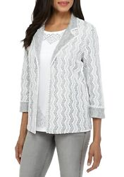 Alfred Dunner® 12, 16 Eskimo Kiss Vertical Texture Jacket Nwt 74