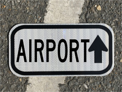Airport Road Sign 12x6 - Dot Style - Runway Airplane Jet Pilot Highway