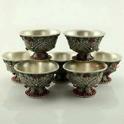 Finely Hand Carved Copper Alloy 4 Tibetan Buddhist Offering Bowls Set Frm Nepal