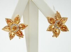 18k Yellow Gold Citrine Flower Earrings With Diamonds And Omega Back