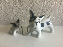 Adorable Vintage Boston Terrier Dog w Pup Figurine