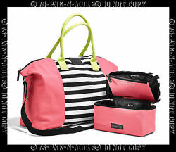 VICTORIAS SECRET TOTE BAG PURSE & LINGERIE MAKEUP CASE PINK BLACK WHITE STRIPE