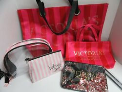 Lot 5 Victoria Secret Travel Tote Bag & Makeup Cases Zipper Top Hot Pink Glitter