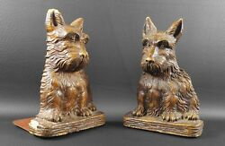 ORNAWOOD Pressed Wood Scottie BOOKENDS Scottish Terrier Scotty Syroco Type