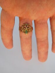 Victorian 19th Century 14k Gold Ruby Colombian Emerald Lion Leo Ring Us 10 1/4🦁
