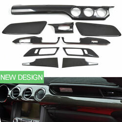100% Real Carbon Fiber Interior Dash Panel Air Vent Trim Cover Kit For Ford Must