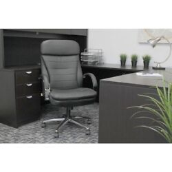 Boss Black Caressoft Plus Padded Chrome Arms And Base Executive Chair