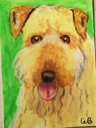 ACEO AIREDALE TERRIER DOG SIGNED ORIGINAL ART CARD