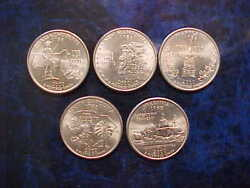 2000 Philadelphia Mint State Quarter Set Of 5 Different State Coins Uncirculated