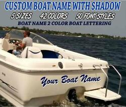 Boat Name 2 Color With Shadow Transom Lettering Custom Vinyl Decal Choose Size