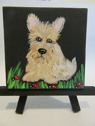 HAND PAINTED ART~~~~WHEATEN SCOTTISH Terrier & LADY BUGS ~~~CANVAS PAINTING